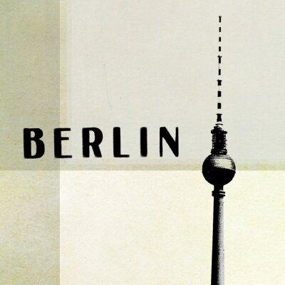 Quadro Berlim Cartão do vintage - torre da tevê e letras no backg abstrato