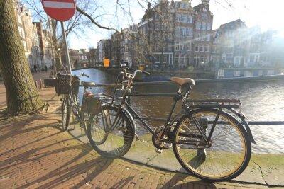 Quadro Bicicletas, forro, ponte, canais, Amsterdão, Países Baixos