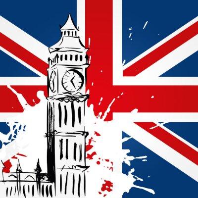 Quadro Big Ben diante do Union Jack