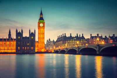 Quadro Big Ben e ponte de westminster no crepúsculo em Londres