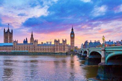 Quadro Big Ben e Westminster Bridge com Rio Tamisa