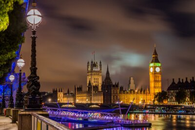 Quadro Big Ben ea ponte de Westminster na noite, Londres, Reino Unido