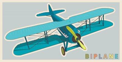 Quadro Biplano azul na estilização do vintage e da cor. Hélice de avião modelo com duas asas. Aviões retro velhos projetados para a impressão do poster. Biplano belamente e realistically tirado do vôo do vet