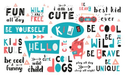 Quadro Black and white and colored set of hand drawn motivation quotes, phrases and words. Graphic design for t-shirt print, posters, greeting cards. Vector illustration. Cool dogs theme.
