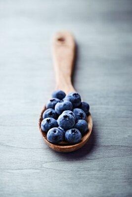 Quadro Blueberries em uma colher de madeira