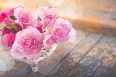 Quadro Bonito, buquet, rosÈ, flores, antigas, weathered, madeira