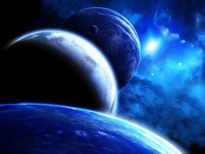 Quadro Bonito, espaço, cena, parada, planetas, nebulosa