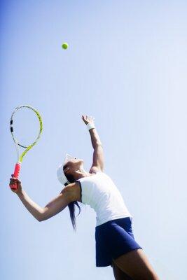 Quadro Bonito, femininas, tênis, jogador, servindo