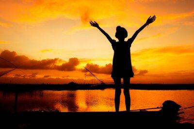 Quadro Bonito, menina, jogo, Rio, pôr do sol, fundo