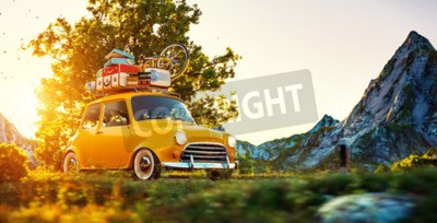 Quadro Bonito, pequeno, retro, car, malas, bicicleta, cima, passa, maravilhoso, campo, estrada, pôr do sol