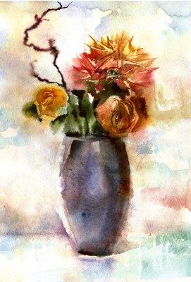Quadro Bouquet de flores de aquarela