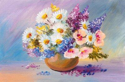 Quadro bouquet de flores do verão, ainda pintura a óleo vida