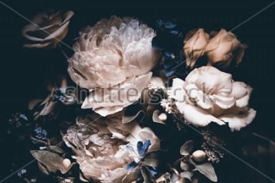 Quadro bouquet of pink peonies, dark background,