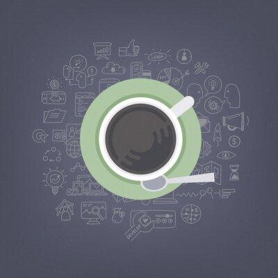 Quadro Brainstorming idéias com ilustração de café