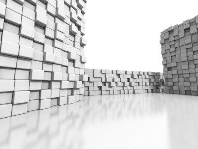 Quadro Branco cubos parede 3d fundo