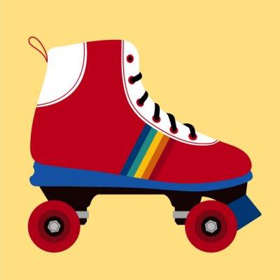 Quadro Branco e vermelho sapato de patinação
