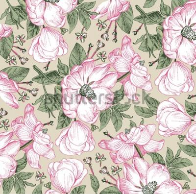 Quadro Brier, cachorro rosa, rosa mosqueta. Padrão clássico. Flores brancas bonitas realísticas de florescência isoladas barrocos. Fundo vintage. Desenho de gravura. Papel de parede à mão livre. Vector estil