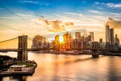 Quadro Brooklyn, ponte, Lower, Manhattan, Skyline, pôr do sol, visto, Manhattan, ponte