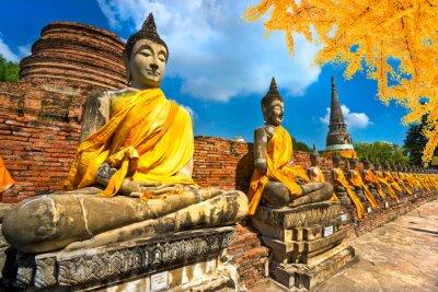 Quadro Buddha estátuas em Ayutthaya, Tailândia,