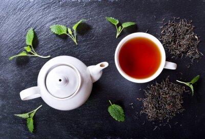 Quadro Bule e chávena de chá com hortelã