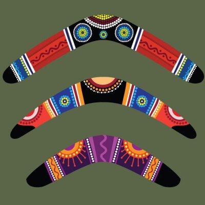 Quadro Bumerangues com design aborígene