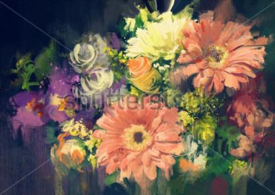 Quadro buquê de flores em estilo de pintura a óleo, ilustração