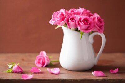 Quadro Buquê de rosas rosa bonita em vaso