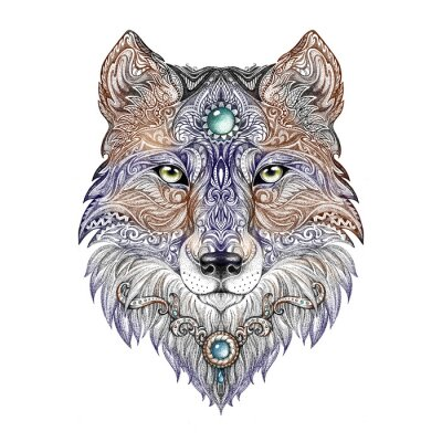 Quadro Cabeça de lobo Tattoo fera de rapina