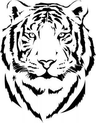 Quadro cabeça de tigre na interpretação black 2