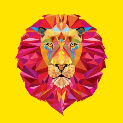 Quadro Cabeça do leão no padrão geométrico