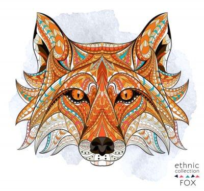 Quadro Cabeça modelada da raposa vermelha no fundo do grunge. Projeto africano / indiano / totem / tatuagem. Pode ser usado para o projeto de um t-shirt, de um saco, de um cartão postal, de um poster e assim