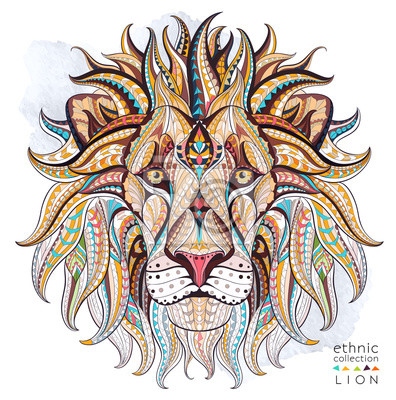 Quadro Cabeça modelada do leão no fundo do grunge. Projeto africano / indiano / totem / tatuagem. Pode ser usado para o projeto de um t-shirt, de um saco, de um cartão postal, de um poster e assim por diante