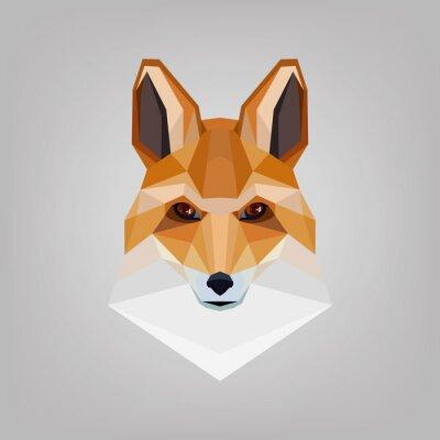 Quadro Cabeça poligonal geométrica é raposas. Logo design.