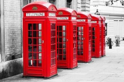 Quadro Cabines de telefone em Londres no método chave Cor