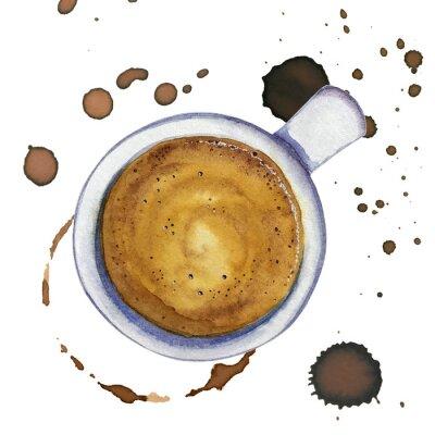 Quadro Café expresso da xícara de café da aquarela com manchas e marcas do café ao redor, vista superior.
