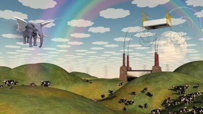 Quadro Cama em paisagem de fantasia