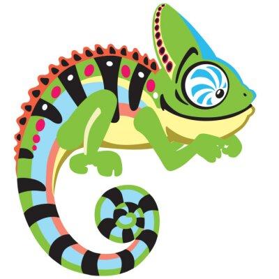 Quadro Camaleão dos desenhos animados lagarto. Imagem Opinião lateral isolada no branco