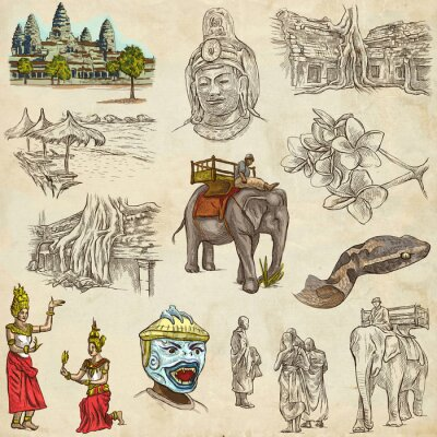 Quadro Cambodia - An hand drawn illustrations. Frehand pack.