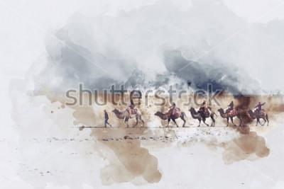 Quadro Camelos e estrada de secagem e dunas de areia do deserto, ilustração digital aquarela