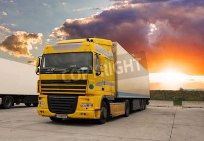Quadro Caminhão - transporte de carga com sol