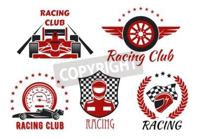 Quadro Campeonato de corrida e motos de competição símbolos com carros de corrida de roda aberta, piloto, capacete de proteção e roda alada, emoldurado por velocímetro, bandeira de corrida, escudo de damas,