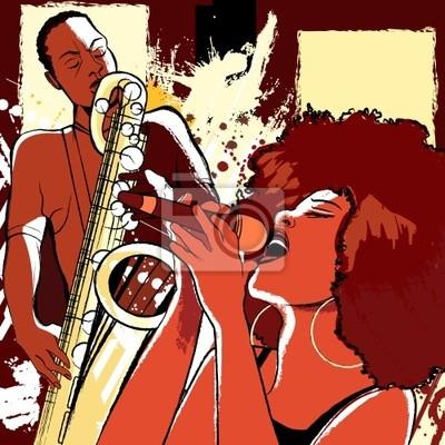 Quadro cantora de jazz e saxofonista no fundo do grunge