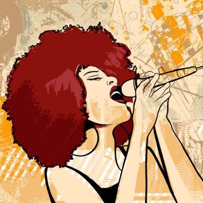 Quadro cantora de jazz no fundo do grunge