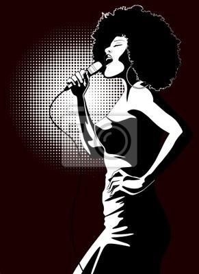 Quadro cantora de jazz no fundo preto