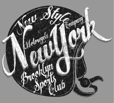 Quadro Capacete de motocicleta Tipografia New York Sports Club