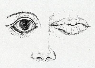 Quadro Cara, arte metáfora, desenho da pena e tinta no papel textura