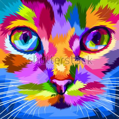 Quadro cara de gato perto de olhos coloridos