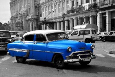 Quadro Carro americano azul velho em Havana, Cuba