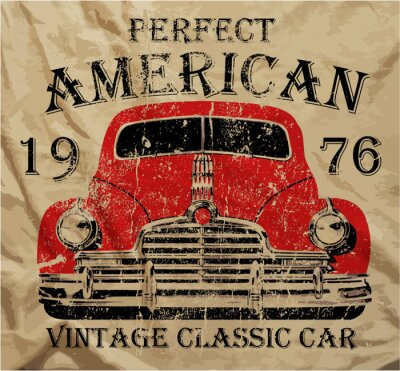 Quadro Carro T Vintage Old American camisa Design Gráfico