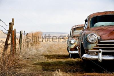 Quadro carros antigos abandonados e enferrujando em wyoming rural